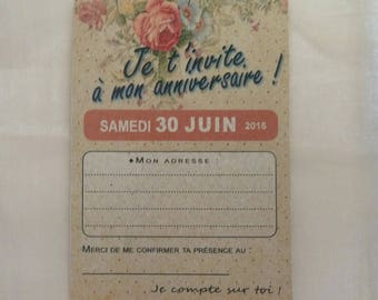 set of 4 cards, invitations style vintage flowers for birthday