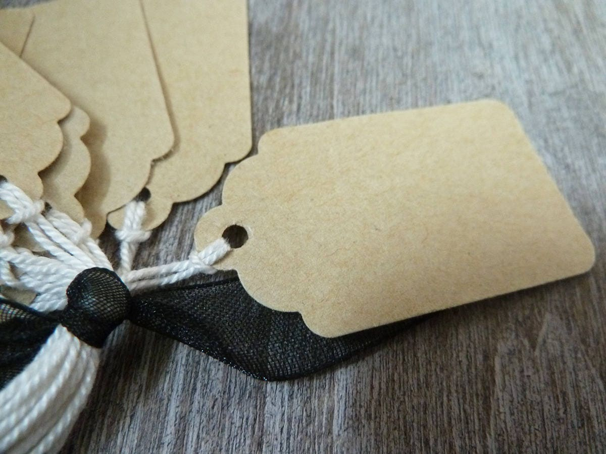 40 tiquettes taille moyenne en papier kraft fran ais 140. Black Bedroom Furniture Sets. Home Design Ideas