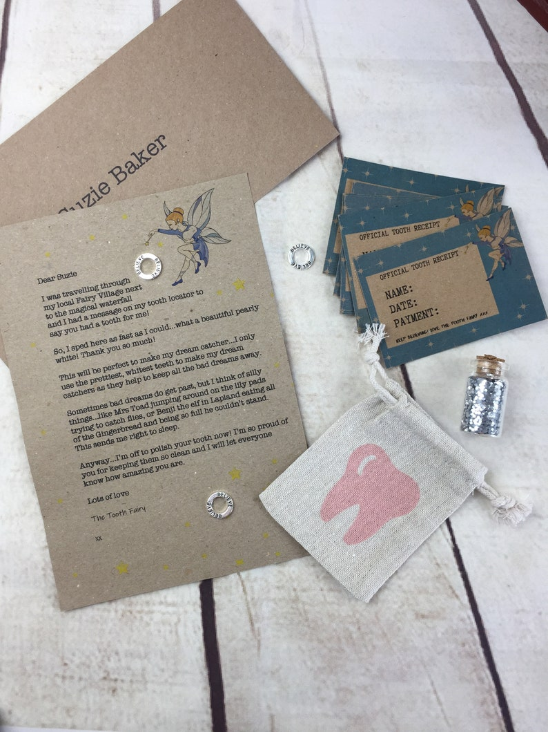 Personalised Tooth Fairy Kit Tooth Fairy Certificates Lost Pink