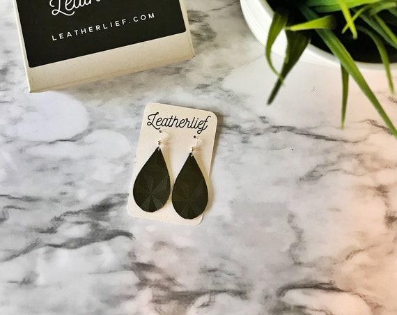Olive Green Embossed Mini Leather Earrings