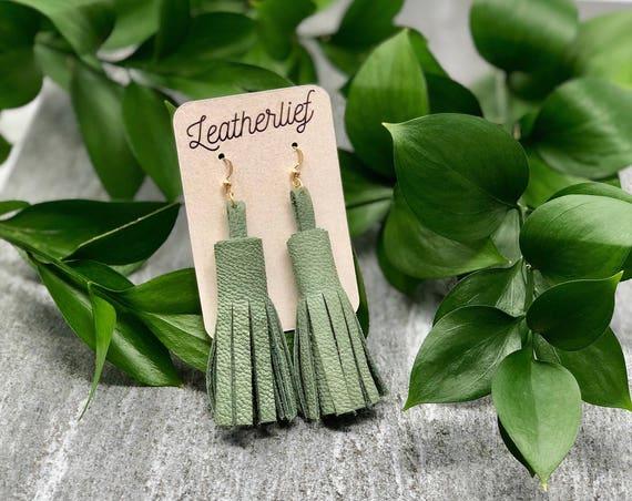 Moss Leather Tassel Earrings