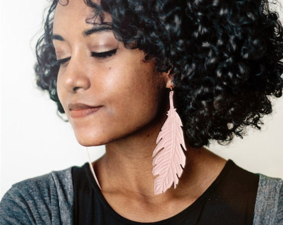 Naked/Nude Embossed Leather Feather Earrings