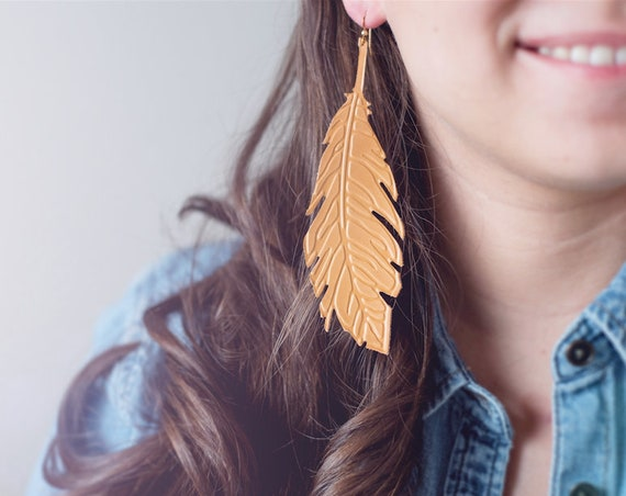Saffron/Yellow Embossed Leather Feather Earrings
