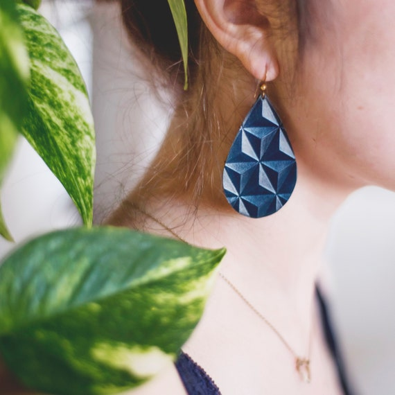 Indigo/Blue Embossed Leather Earrings