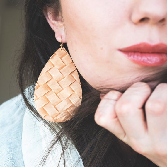 Woven Camel/Cognac Embossed Leather Earrings