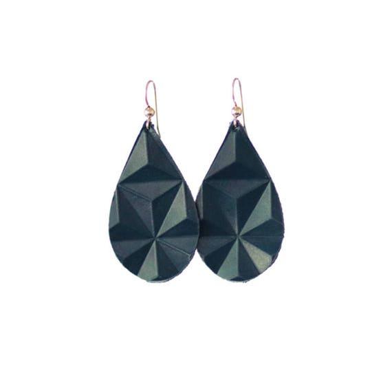 Indigo Blue Embossed Mini Leather Earrings
