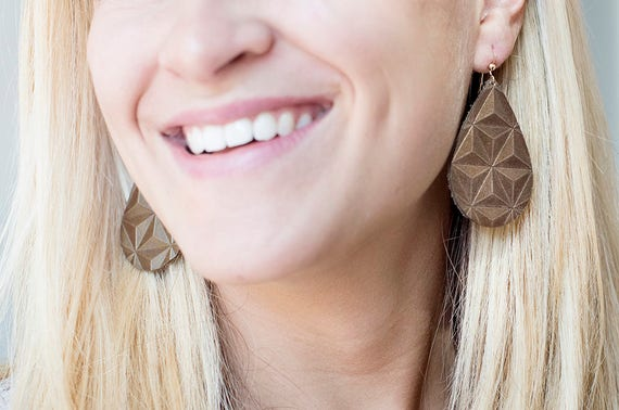 Bronze/Brown Embossed Leather Earrings