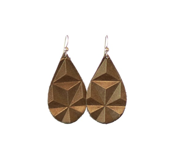 Bronze Embossed Mini Leather Earrings