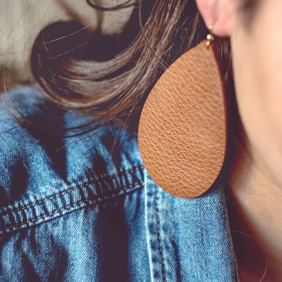 Coffee/Brown Leather Earrings