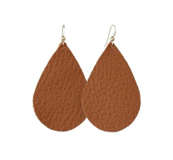 Coffee/Brown Leather Earrings
