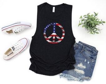 2c94bb2ed3c American Flag Peace Sign Shirt, July 4th Tank Women, 4th of July Shirt  Women, American Flag Tank Top, 4th of July Muscle Tank, July 4th Tops