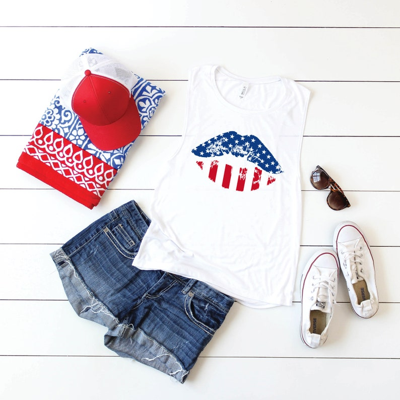 4th of July Tank Top for Women Womens Muscle Tank Cute Womens 4th of July Tanks USA Lips American Flag Lips Shirt July 4th Tanks Women