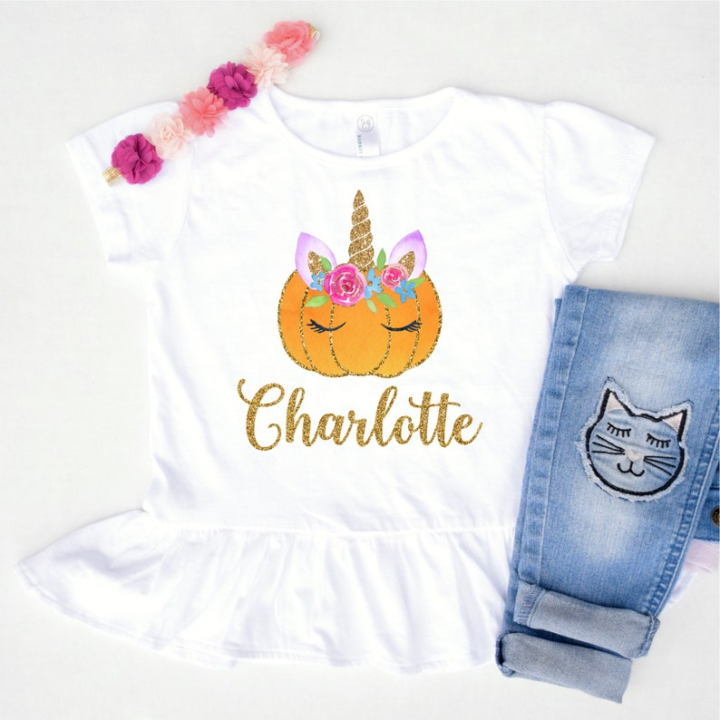 7dc4aa41 Toddler Halloween Shirt for Girls Personalized Unicorn Shirt | Etsy