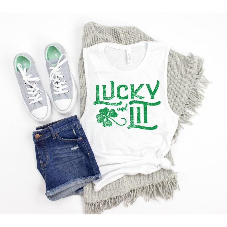 St Patricks Tanks for Women St Patricks Day Tank Top Lucky Shirt Womens Luck and Lit Tank Cute Shamrock Shirts Shenanigans Irish Tees
