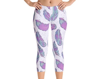 Feather Leggings - Colorful Bohemian Leggings - Gypsy Leggings - Boho Chic Capri Leggings