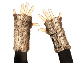 Pair of fingerless gloves Brown faux fur really very very soft.