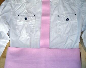 Ceinture et cravate rose clair pour enfant, déguisement écarteur landais, costume traditionnel , taille unique.
