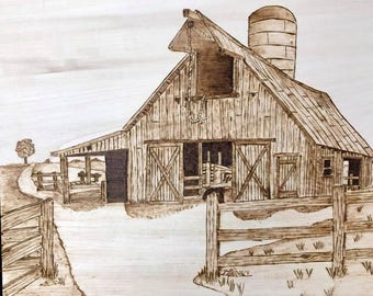 Old Barn with Tractor