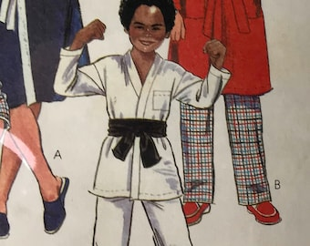 McCall's Quick and Easy #7679 Boys/Girls Sewing Pattern karate outfit, robe with belt and pajama tops and bottoms Great Gift Cute UNCUT New