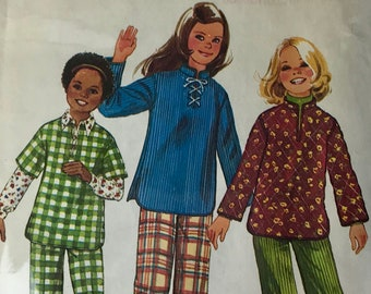 Simplicity #6589 Boho Vintage 1970s Girls Sewing Pattern Size 12-14 Tunic/Top w open lace up bodice and pull on Bell Bottom pants  UNCUT NEW