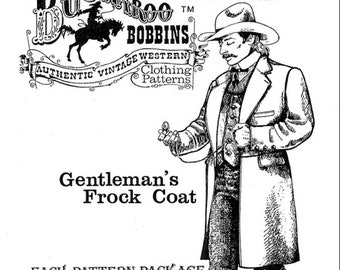 NEW Buckaroo Bobbins Gentleman's Frock Coat Authentic Vintage Paper Sewing Pattern / Size 34 - 60 / Includes Concealed Glove Pockets UNCUT