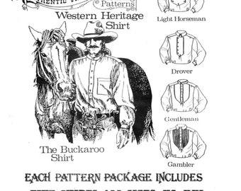 NEW Buckaroo Bobbins Western Heritage Shirt Authentic Vintage Paper Sewing Pattern / Size xs - xxl / Horseman, Drover, Gentleman & Gambler