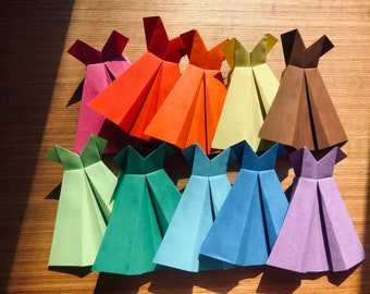 """Set of 10 Origami Dresses - Made to Order - 5"""" x 5"""" - Pink, Red, Yellow, Orange, Light and Dark Green, Light and Dark Blue, Purple and Brown"""