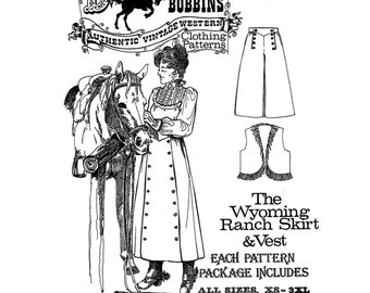 NEW Buckaroo Bobbins Ladies' Wyoming Ranch Skirt and Vest Authentic Vintage Western Paper Sewing Pattern Size xs - 3xl Fabric/Leather UNCUT