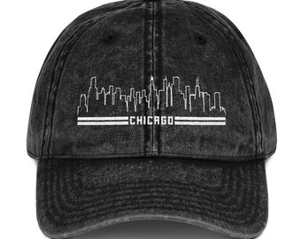 Chicago Skyline Vintage Cotton Twill Cap Chi town Hat Gift 84d916a467