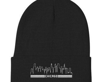 Chicago Skyline Knit Beanie Chi Town Winter Hat Gift 42ed1b21bd