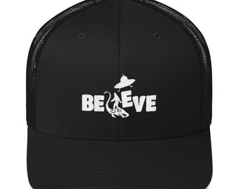 d2ba4e71d33 Bigfoot Sasquatch UFO Alien Loch Ness Trucker Hat Embroidered Cap Gift