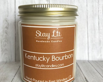 Kentucky Bourbon Soy Candle   9oz   Scented Candle   Handmade   Hand-Poured   Hand Labeled   Gift Idea   Stay Lit Candles