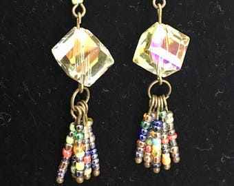 Big crystal and multi color beads earrings