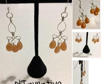 Semi precious gemstones Orange Chandelier earrings