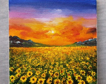 Small Painting on canvas Acrylic painting sunflower Floral painting art Gift art Painting original Sunset Home decor handmade Art