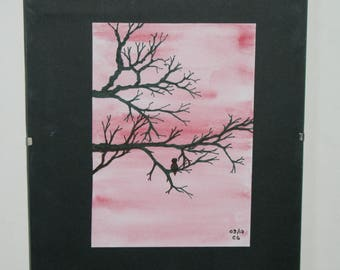 Original watercolor tree on a pink background, 10.5 cm * 14.5 cm