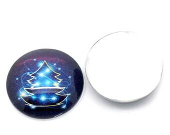 Cabochon round 25mm glass Christmas tree pattern