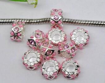 5 European beads, diamond, rhinestone Pink Silver
