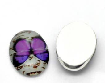 With butterfly pattern oval purple glass cabochon 18x13mm
