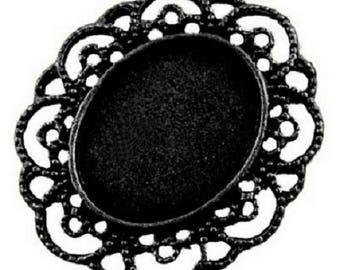 Support cameo filigree gunmetal oval cameo pr 25x19mm