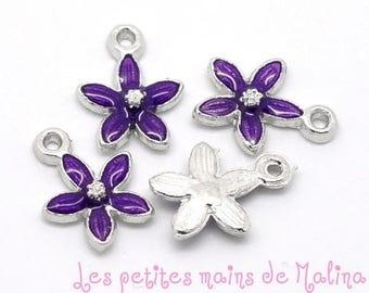 4 purple 5 petals charm pendant
