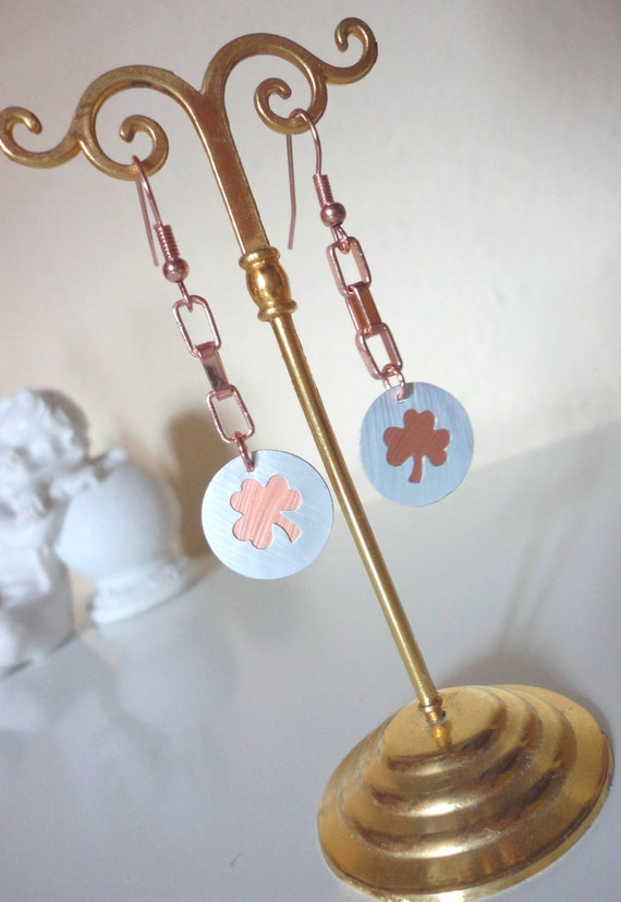 Rosegold Nespresso Shamrock Clover Earrings With Necklaces Etsy