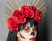 Virgin Mary Día de los Muertos crown headpiece, Halo rose crown, festival headpiece