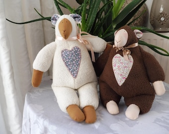 Set of 2 sheep cuddly fleece and liberty