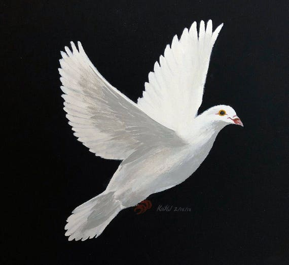 Hand Painted White Dove Acrylic Paint On Black Canvas Made Etsy
