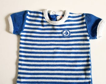735c2b0ce7b6 High boy or girl vintage and retro. Striped toweling 6 month little boat  made in France