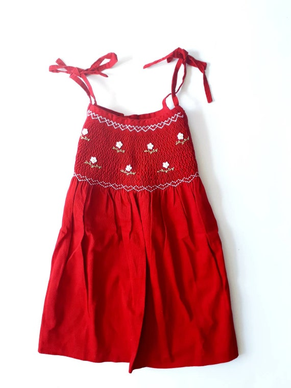 6-year-old vintage red and retro dress with smocks
