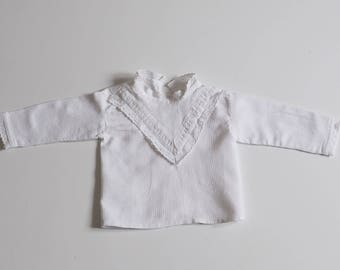 White shirt for ceremony with embroidery - 3 months boy or girl