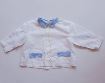 Vintage shirt blouse and retro boy or girl with embroidery 3 months. 1960. Long sleeves, Claudine pass. Perforated. Vichy