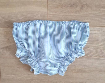 Panties shorts bloomers 4t retro vintage handmade blue and white stripes